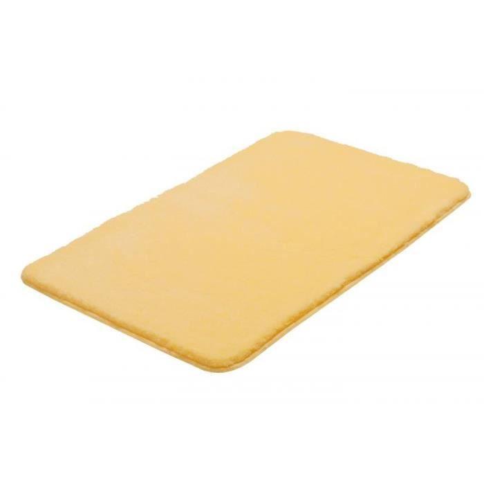 tapis de salle bain 60 x 100 cm 100 acrylique coloris jaune achat vente tapis de bain. Black Bedroom Furniture Sets. Home Design Ideas
