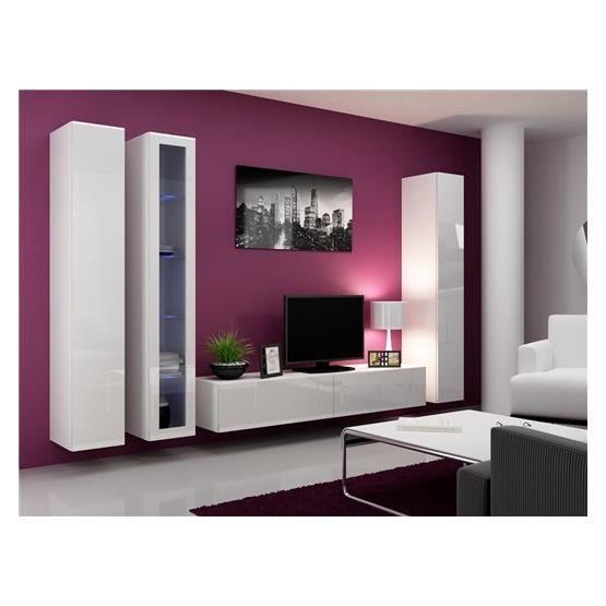 Ensemble meuble tv design miko blanc achat vente meuble tv ensemble meubl - Ensemble meuble tv design ...