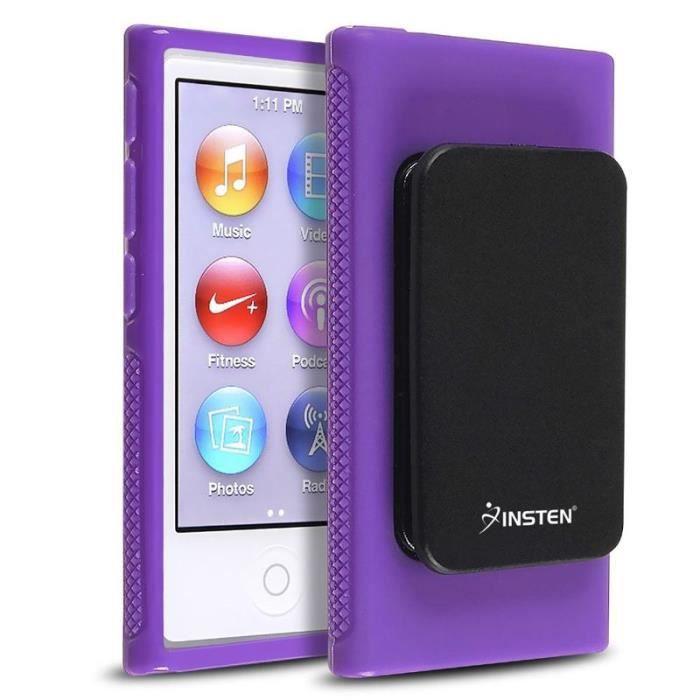 Insten housse violet avec clip ceinture coque tui tpu for Housse ipod nano