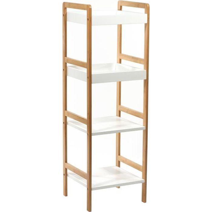 etagere 4 niveaux salle de bains achat vente meuble tag re etagere 4 niveaux bambou cdiscount. Black Bedroom Furniture Sets. Home Design Ideas