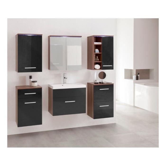 Justhome megi ensemble salle de bain en bois de prune noir achat vente - Ensemble salle de bain bois ...