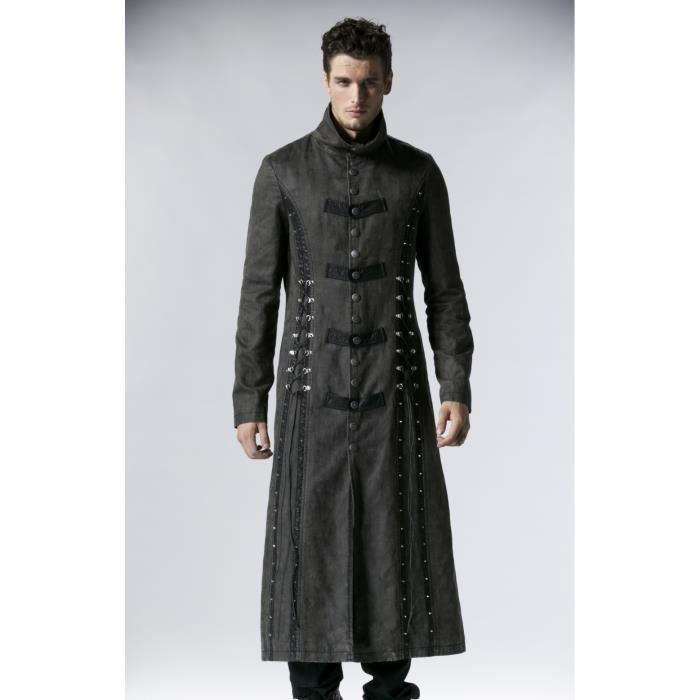 long manteau gothique homme 39 man 39 s tomb 39 gris noir achat vente manteau caban cdiscount. Black Bedroom Furniture Sets. Home Design Ideas