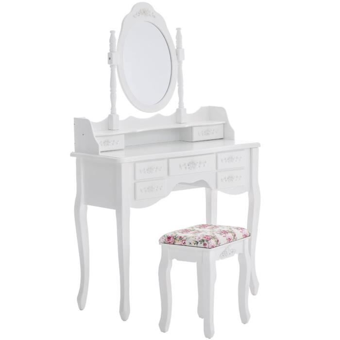 Coiffeuse blanche en bois avec tabouret miroir et 7 for Coiffeuse blanche avec miroir