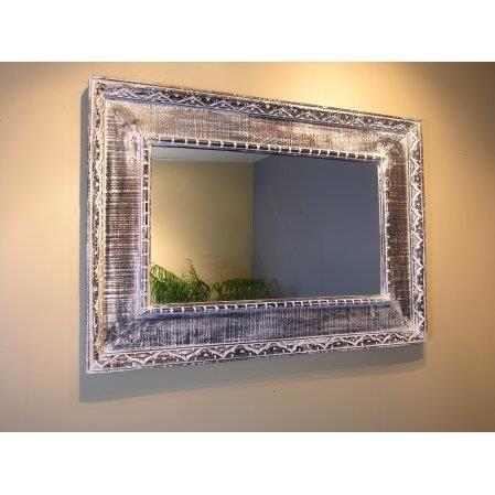 Miroir palerme en bois patin gris c rus 100cm x 70cm for Effet miroir sur photoshop