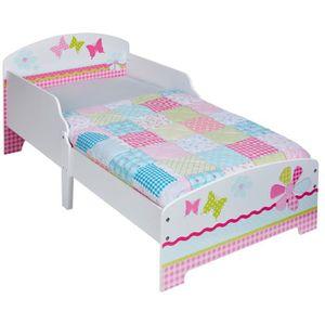 STRUCTURE DE LIT Lit Enfant en bois blanc et rose Patchwork Fille 7