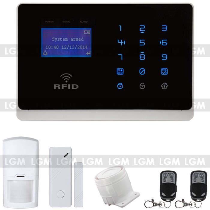 Alarme maison gsm noire avec contr le rfid radi achat for Alarme maison gsm