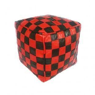 pouf en cuir rouge et noir design carreaux rem achat. Black Bedroom Furniture Sets. Home Design Ideas