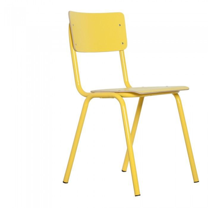 Chaise design klass couleur jaune mati re acier achat for Chaise design couleur