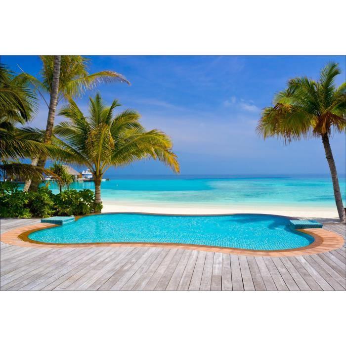 Stickers muraux d co piscine plage palmiers dimensions for Deco piscine plage