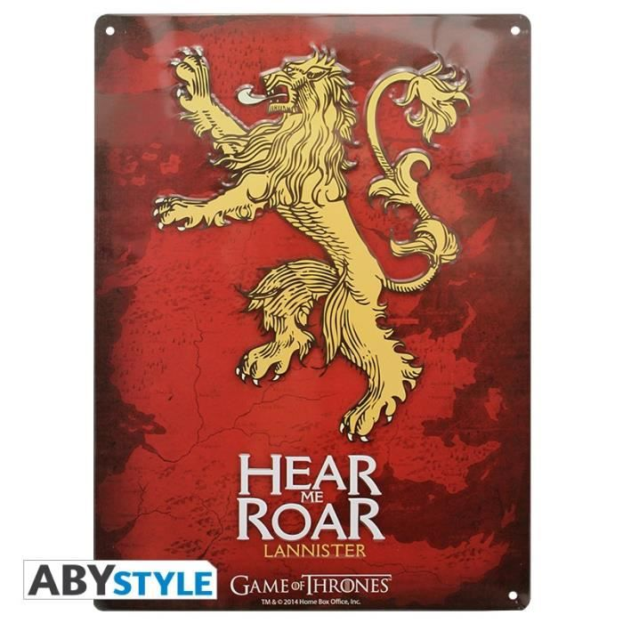 Game of thrones plaque m tal game of thrones la achat for Decoration murale game of thrones