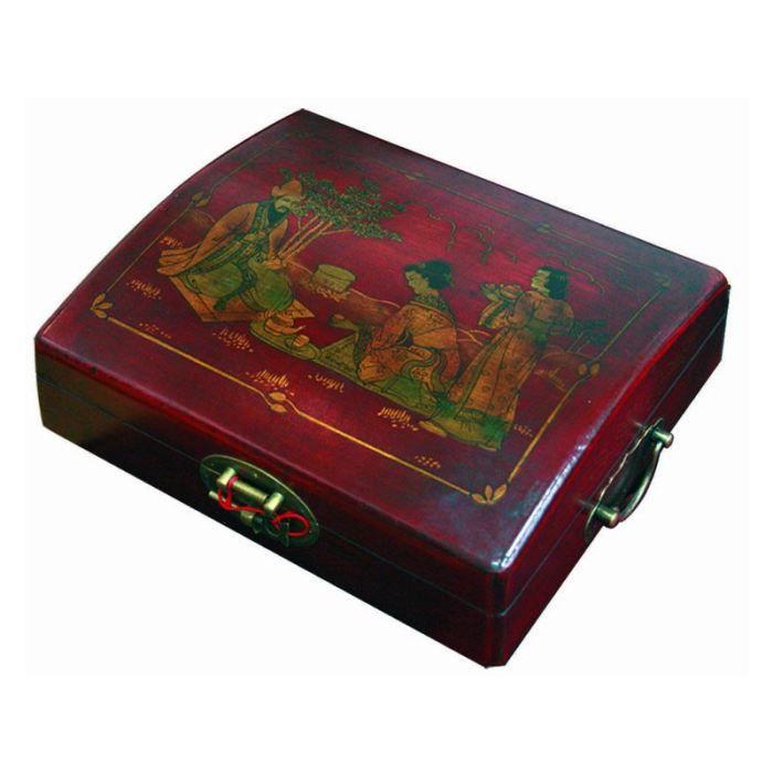 Boite a the chinoise aspect cuir rouge achat vente for Maison rouge boite de nuit