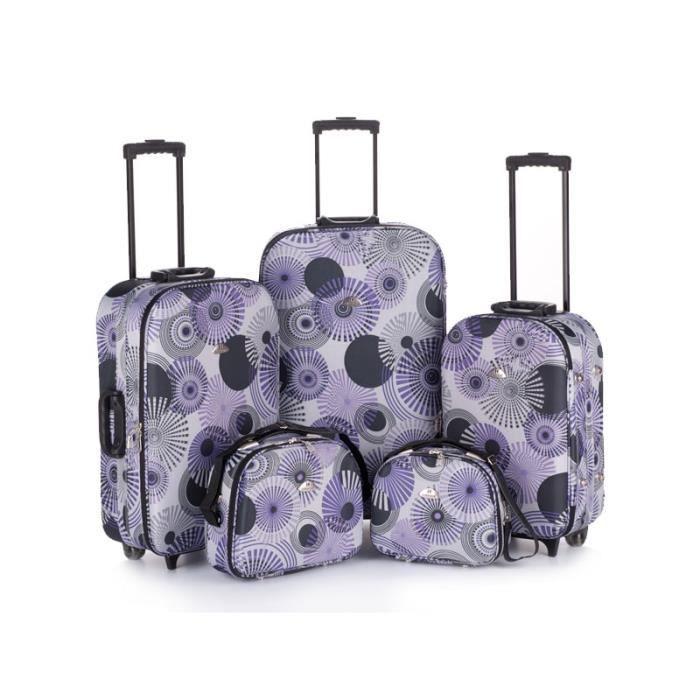 bagage kinston lot de 3 valise 2 vanity violet violet achat vente set de valises bagage. Black Bedroom Furniture Sets. Home Design Ideas