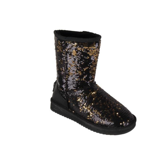 boots bottines noir paillettes noir et or noir noir achat vente bottine cdiscount. Black Bedroom Furniture Sets. Home Design Ideas