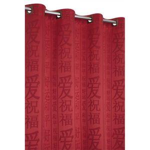 double rideaux rouge et noir achat vente double rideaux rouge et noir pas cher cdiscount. Black Bedroom Furniture Sets. Home Design Ideas