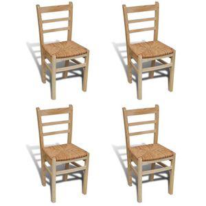 CHAISE 4 pcs Chaise de salle à manger Vernis Naturel
