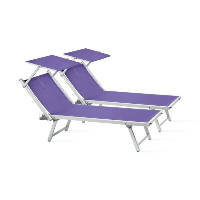 Lot de 2 transats bain de soleil avec ombrelle achat for Chaise longue jardin avec pare soleil