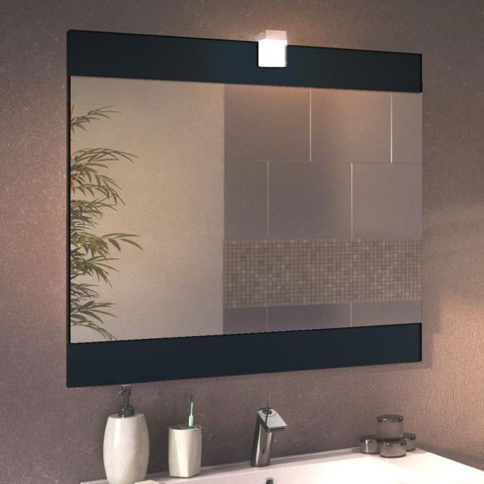 Miroir avec applique lumineuse fazio 80 cm gris achat for Applique led salle de bain 80 cm