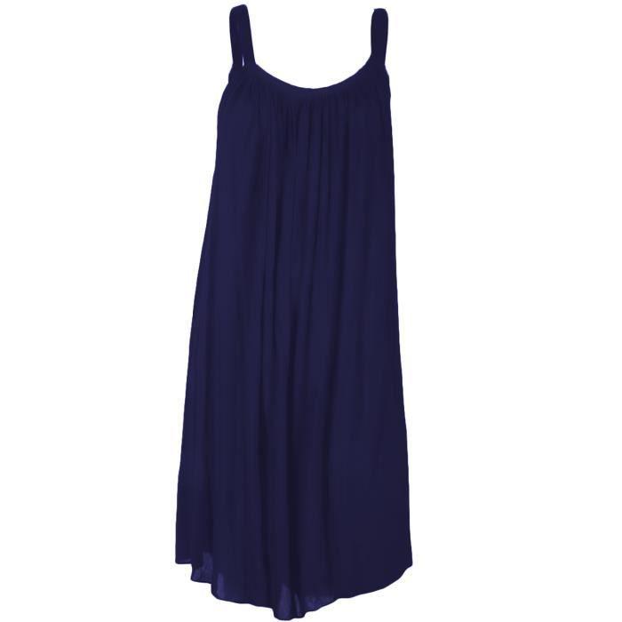 robe courte d 39 t en coton pretina bleu marine taille unique 36 40 achat vente robe. Black Bedroom Furniture Sets. Home Design Ideas