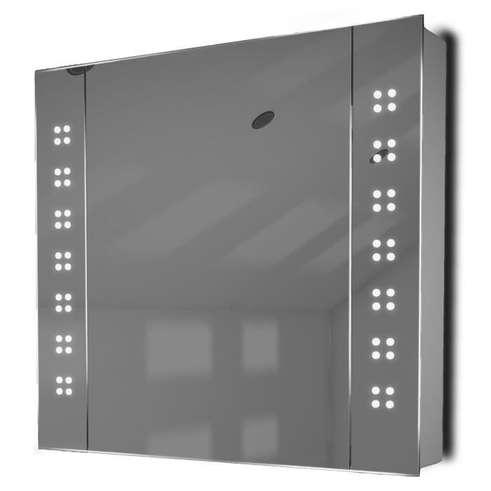 miroir de salle de bain avec capteur et prise rasoir interne k19w blanc taille l 600mm x l. Black Bedroom Furniture Sets. Home Design Ideas