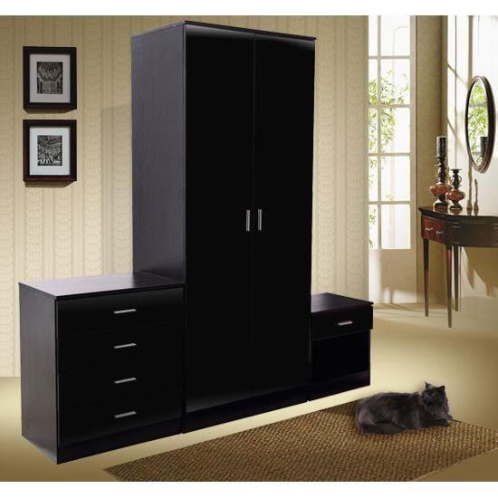 Ensemble mobilier de chambre mdf noir neuf 11 achat for Mobilier de chambre complet