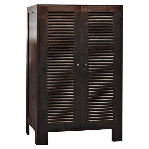 kota armoire bois acajou 2 portes persiennes colon achat vente armoire de chambre kota. Black Bedroom Furniture Sets. Home Design Ideas