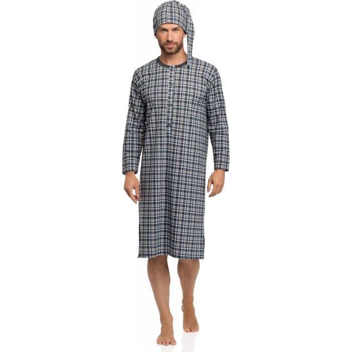 timone chemise de nuit homme 008 bleu achat vente chemise de nuit cdiscount. Black Bedroom Furniture Sets. Home Design Ideas