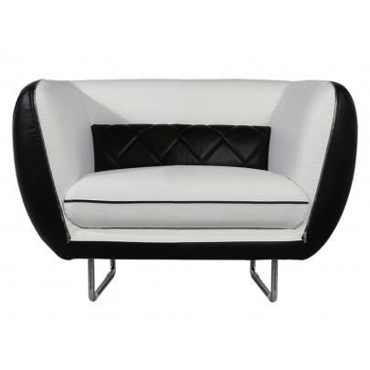 fauteuil en simili everest noir et blanc. Black Bedroom Furniture Sets. Home Design Ideas