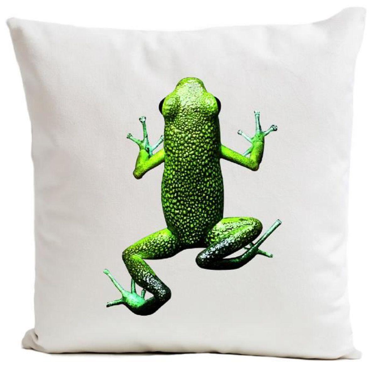housse de coussin frogs en su dine blanc 60x60 cm achat. Black Bedroom Furniture Sets. Home Design Ideas