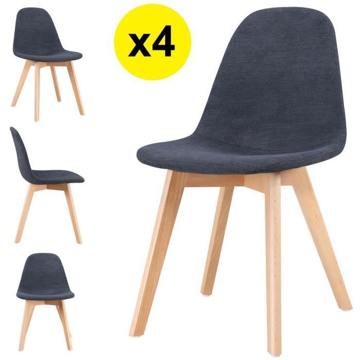 Lot de 4 chaises scandinaves tissu gris fonc skagen for 6 chaises scandinaves