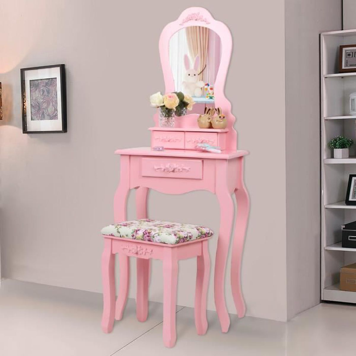 songmics coiffeuse table de maquillage rose style. Black Bedroom Furniture Sets. Home Design Ideas