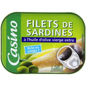 CASINO Filet de sardine à l' huile olive