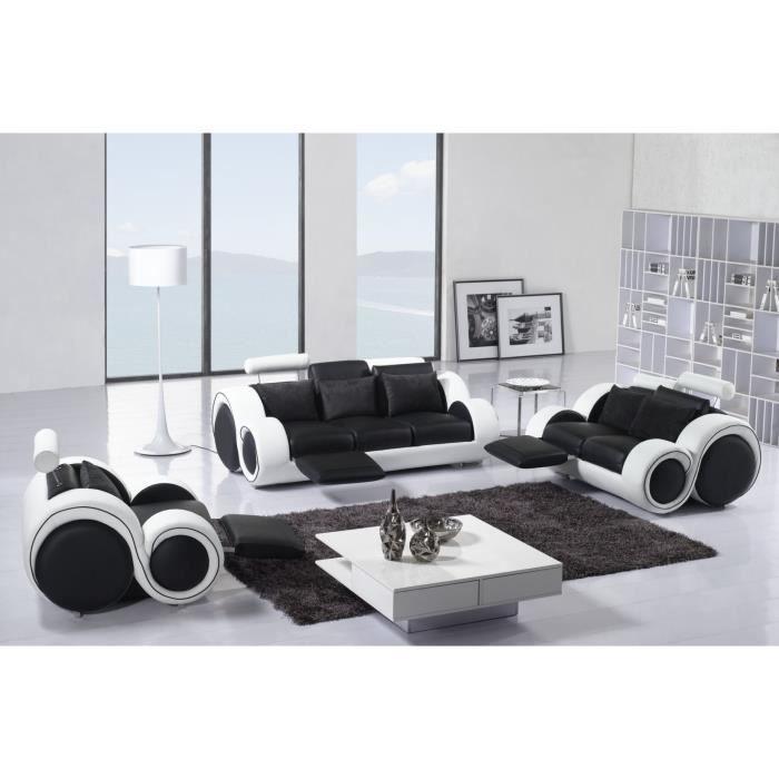 Ensemble canap relax 3 2 1 places en cuir noir et blanc modern achat ven - Ensemble canape 3 2 pas cher ...