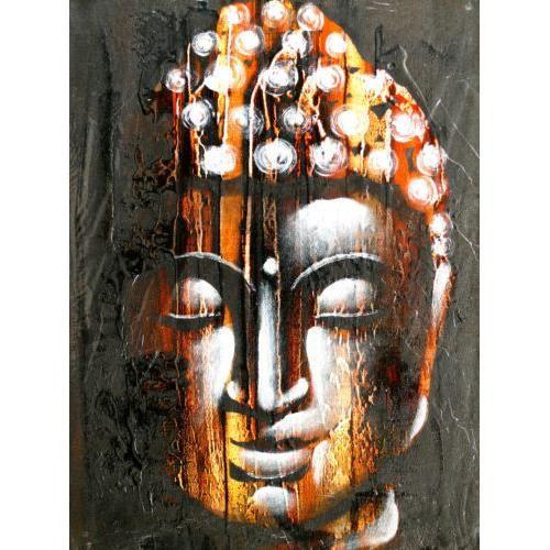 Bouddha peinture tableau bois bouddhisme painting achat vente tableau t - Peinture sur toile bouddha ...