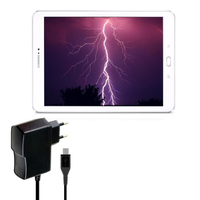 chargeur micro usb pour samsung galaxy tab s2 9 7 t810n t815n en noir foudre charge rapide. Black Bedroom Furniture Sets. Home Design Ideas