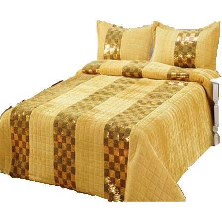 ruth couvre lit dessus de lit couvre oreillers perles beige 1 personne 193 x 264 cm. Black Bedroom Furniture Sets. Home Design Ideas