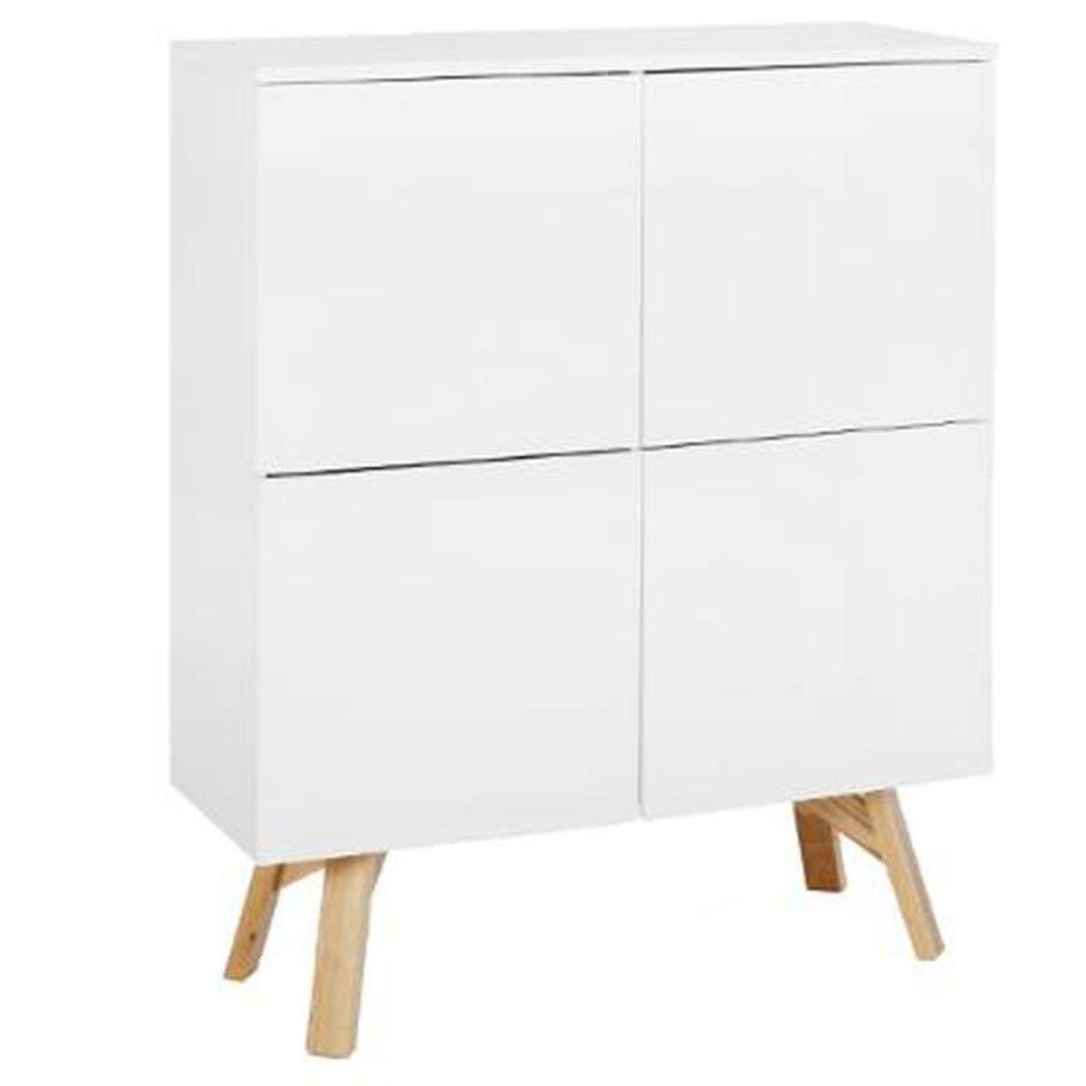Armoire vaisselier de 4 portes coloris blanc en mdf fr ne for Armoire dressing 4 portes