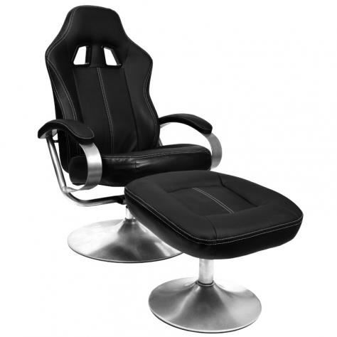 fauteuil maiko noir avec repose pieds achat vente chaise de bureau noir cdiscount. Black Bedroom Furniture Sets. Home Design Ideas
