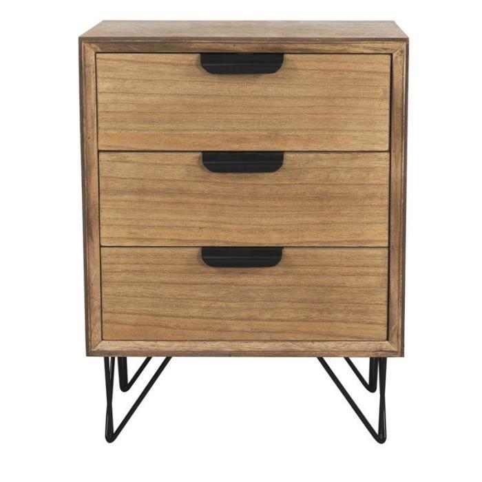 Table 3 tiroirs copenhage 63 cm achat vente table de for Meuble cuisine 120x60