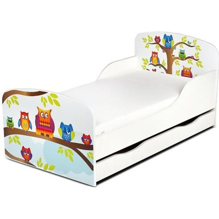lit d 39 enfants motif hiboux avec des tiroirs et matelas. Black Bedroom Furniture Sets. Home Design Ideas
