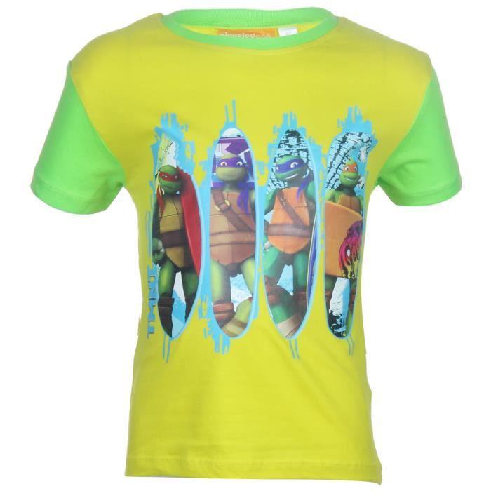 T shirt manche courte gar on tortue ninja jaune bleu jaune achat vente t shirt cadeaux de - Tortue ninja orange ...
