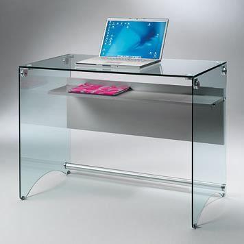bureau multim dia scrib verre tremp gris achat. Black Bedroom Furniture Sets. Home Design Ideas
