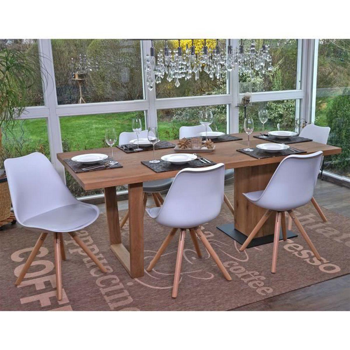 Lot de 6 chaises scandinaves de salle manger blanc 82 cm for Lot de 8 chaise de salle a manger