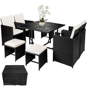 SALON DE JARDIN  Salon de Jardin, Ensemble avec 4 Chaises, 4 Tables