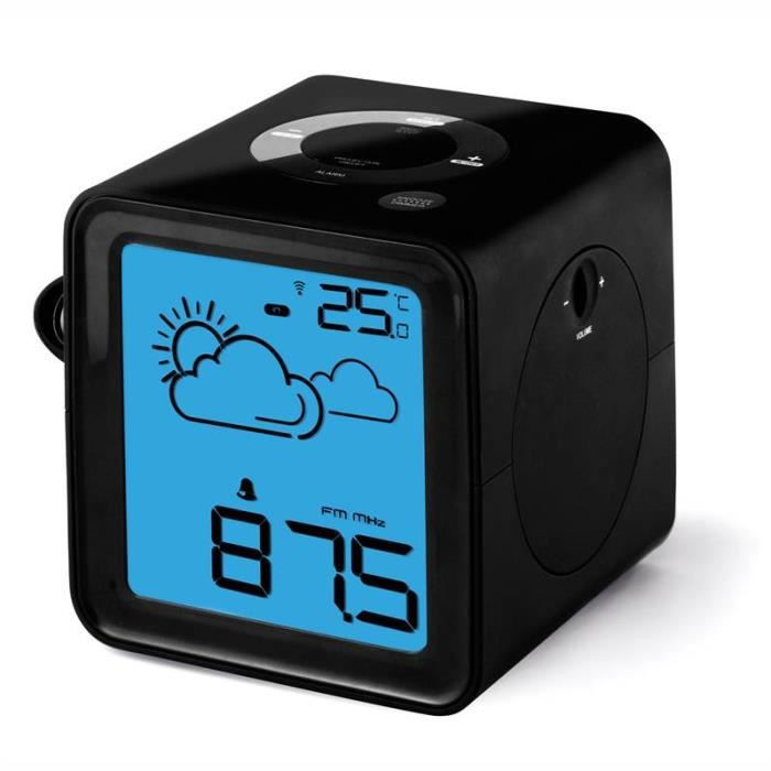 radio r veil cube noir avec projecteur station radio. Black Bedroom Furniture Sets. Home Design Ideas