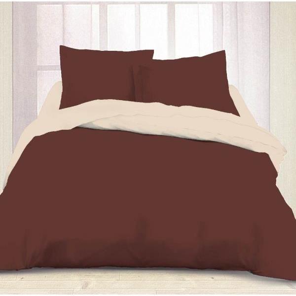housse de couette 260x240cm bicolore choco ecru dv 2 taies d oreiller 65x65 cm achat vente. Black Bedroom Furniture Sets. Home Design Ideas