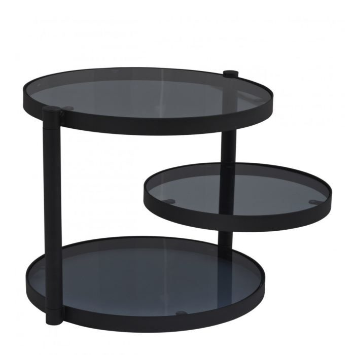 Table basse 3 plateaux colombo couleur noir achat for Petite table basse noire