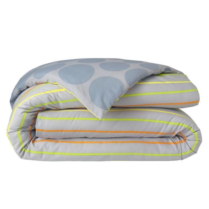 housse de couette 260x240cm coton gris motif pois achat. Black Bedroom Furniture Sets. Home Design Ideas