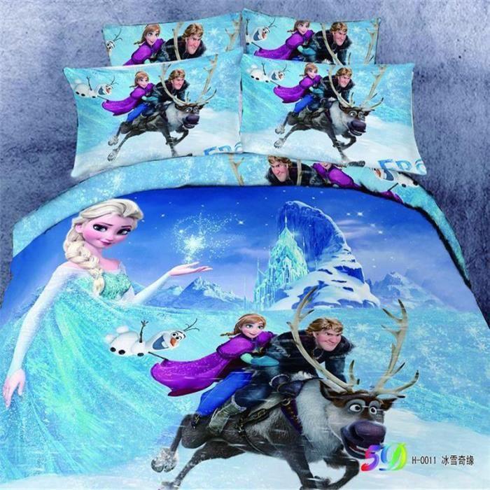 parure de lit reine de neige anna elsa kristoff olaf coton 200 230 cm 3d effet 4 piece achat. Black Bedroom Furniture Sets. Home Design Ideas