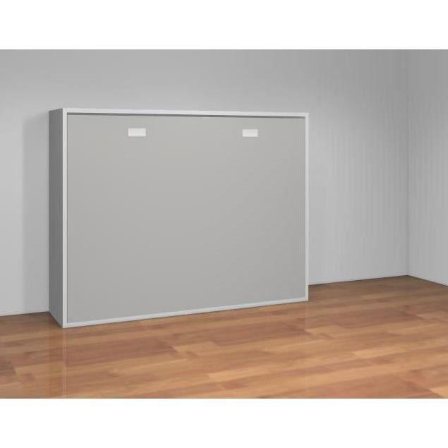Teo armoire lit escamotable 140 cm blanc mat et gris for Armoire et lit adulte
