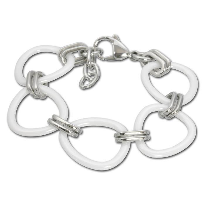 amello bracelet en c ramique triangle blanc bracelet en acier inoxydable pour femmes achat. Black Bedroom Furniture Sets. Home Design Ideas